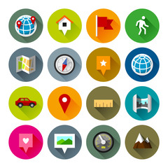 Maps and navigation icons – Fllate series