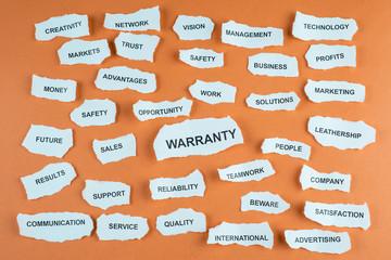 Concepto de garantía como ventaja competitiva en inglés