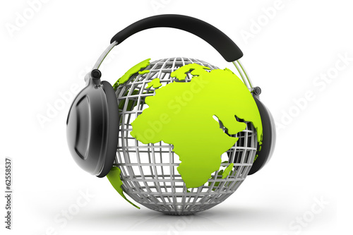 The world earth globe listening to music. Globe and headphones.