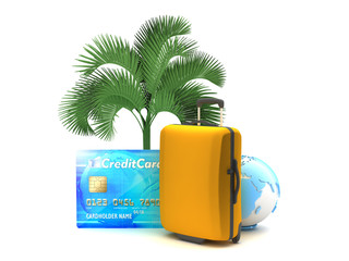 Suitcase, palm tree, credit card and earth globe