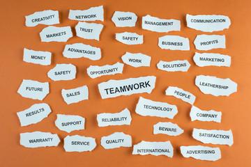 Concepto de trabajo en equipo en los negocios idioma inglés