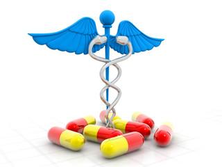 Medical symbol (Caduceus) with pills.