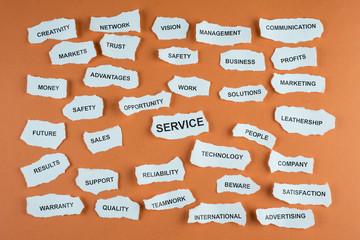 Concepto de servicio en los negocios en idioma inglés