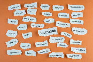 Concepto de solución en los negocios en idioma inglés