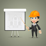 Builder woman points on flipchart