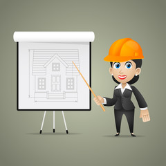 Builder woman points on flipchart