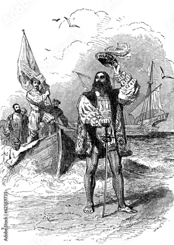Christopher Columbus landing in America