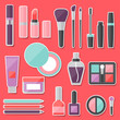 Set of colored cosmetics sticker icons.