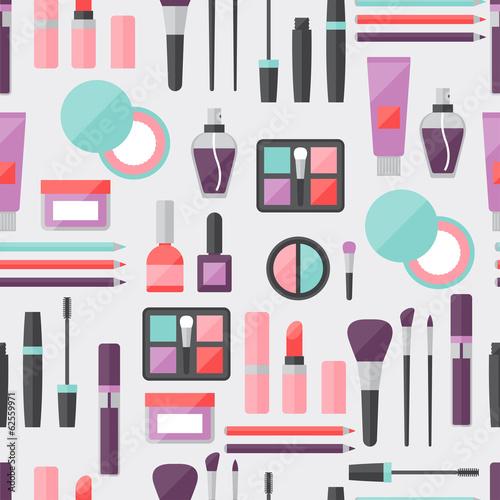 Materiał do szycia Seamless background with cosmetics icons.