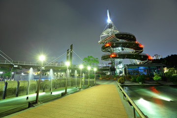 Spiral Lookout Tower of Tai Po Waterfront Park in Hong Kong