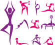 Set of yoga and sport icons