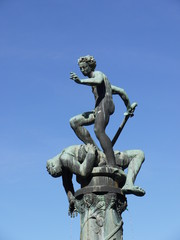 A fountain with David and Goliath in Kalmar
