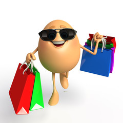 Happy Egg with shopping bags