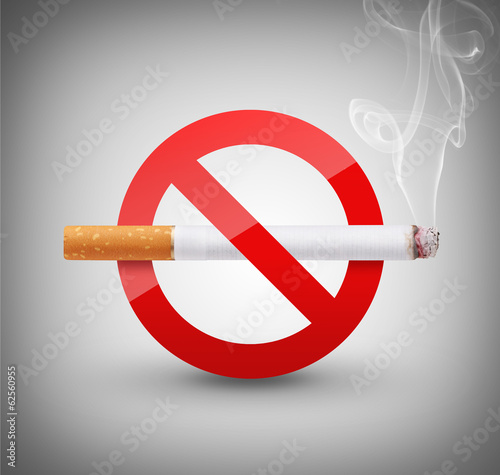 No Smoking Sign on gray background