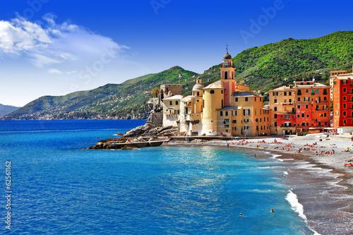 Leinwandbild Motiv Italian holidays on pictorial Ligurian coast - Camogli