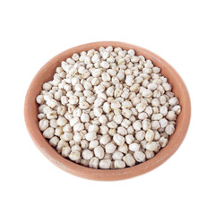 Chickpeas in a bowl of clay isolated on white