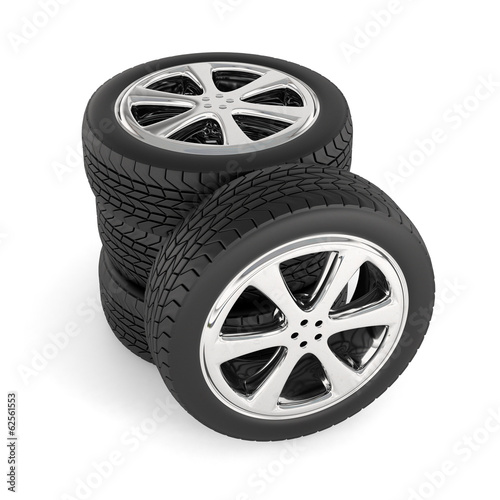 Tires isolated on white background. Stack of car wheels