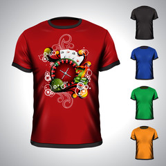 Vector t-shirt set on a casino theme with roulette wheel.