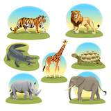 African animals iwith graphic backgrounds.