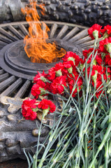 Red carnations and eternal flame, heroes of the Great Patriotic