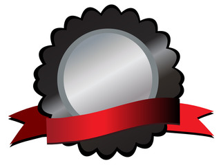 Silver medallion on black,red ribbon below