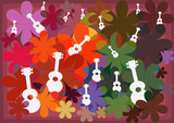 ukulele on full color flower