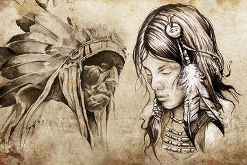 American indian woman, Tattoo sketch, handmade design over vinta