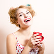 funny pinup woman with curlers happy smiling