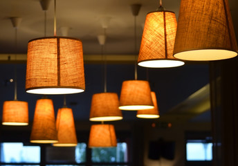 Lamps on a coffee shop