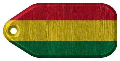 Bolivia flag painted on wooden tag