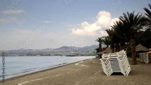 View on central beach in Eilat - famous resort in Israel