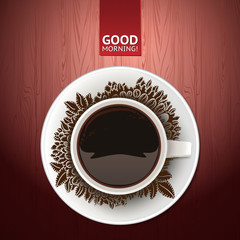Top view coffee cup with good morning wish