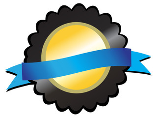 Gold medallion on black, blue ribbon in centre