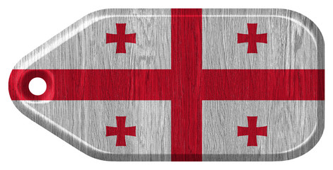 Georgia flag painted on wooden tag