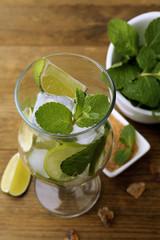 Ingredients for lemonade, on wooden table