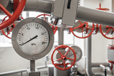 Valves and manometers on Industrial pipeline system