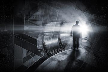 Man goes through dark tunnel. Abstract background illustration