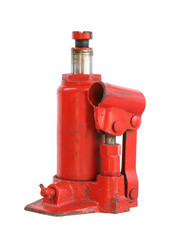 Hydraulic car jack isolated on white background