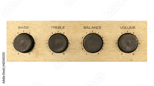 Stereo sound button, volume balance bass and treble