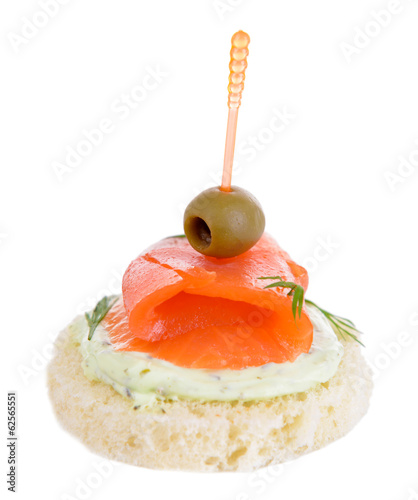 Delicious canape isolated on white - 62565551