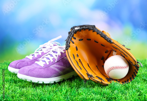 Beautiful gumshoes and baseball ball, glove