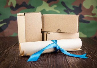 Abstraction of military mail on a camouflage background
