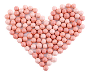 Powder balls isolated on white
