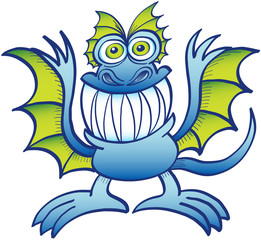 Mad blue monster grinning mischievously