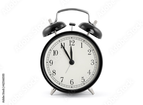 Leinwanddruck Bild Black old style alarm clock with clipping path