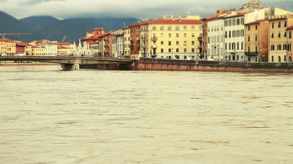Flood of Arno River in Pisa