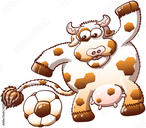Cute cow surprised when discovering a soccer ball