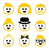 People with blond hair vector icons set