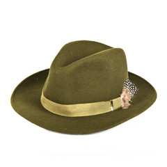 Vintage green hat over isolated white background