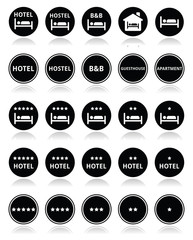 Hotel, hostel, B&B with stars round icons set
